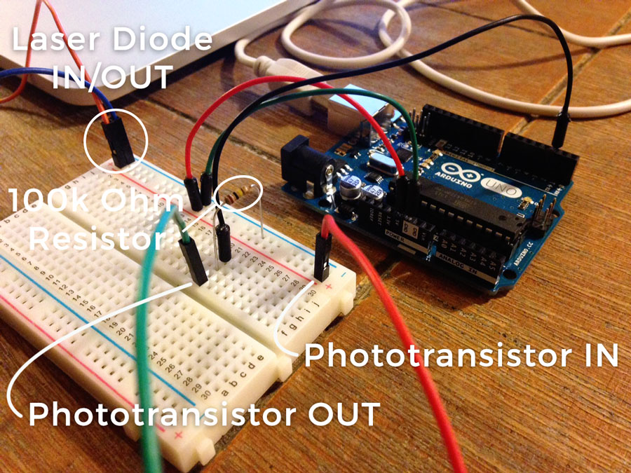 JumpOff - Laser Tripwire Experiment with Phototransistor